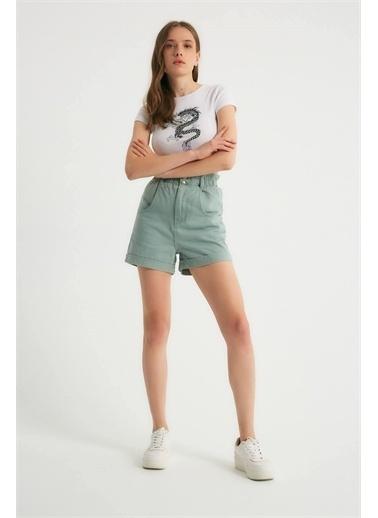 Robin Robin Elastik Yüksek Bel Jean Şort Mint Yeşil